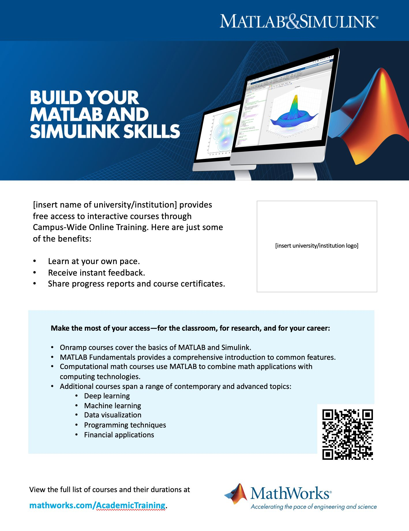 Campus-Wide License Online Training Poster template 8 ½ x 11