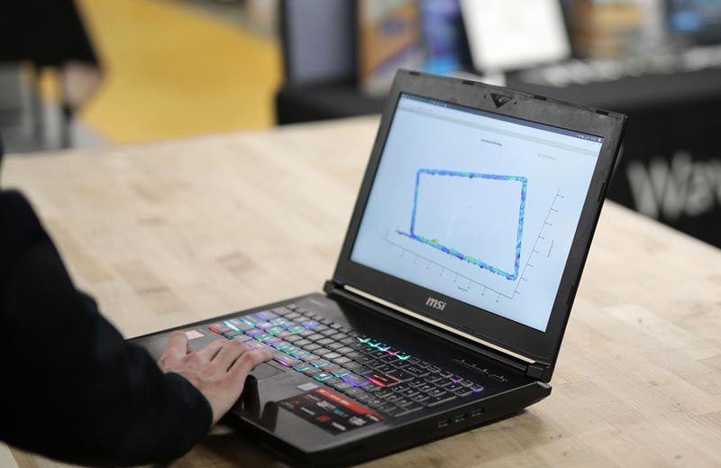 Laptop running MATLAB.