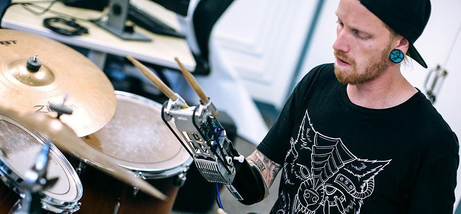 A close-up of the autonomous robotic drumming prosthesis.