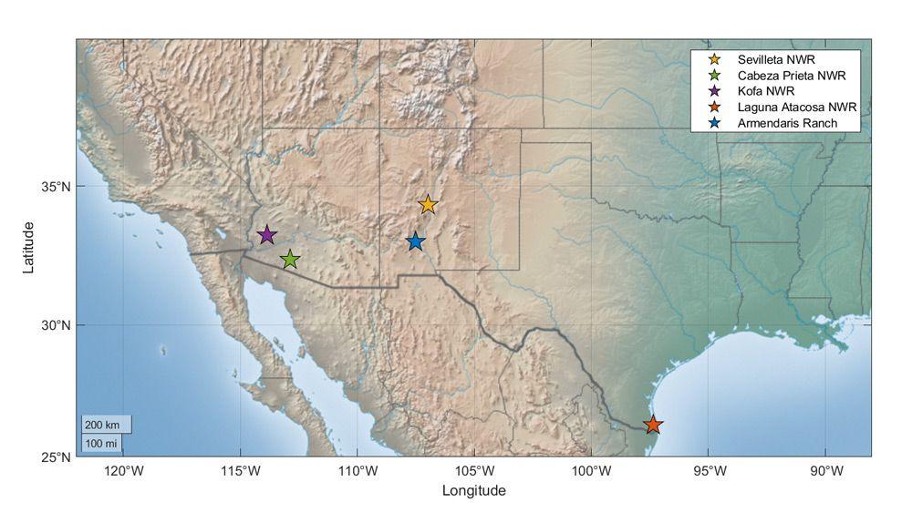 Figure 1. The five data site locations.