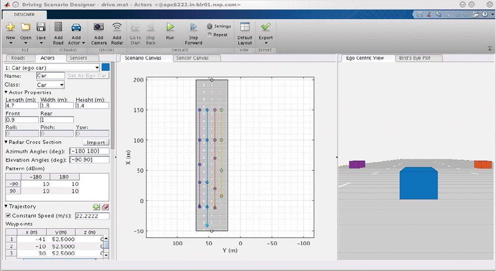 Figure 4. Driving Scenario Designer app in Automated Driving Toolbox.