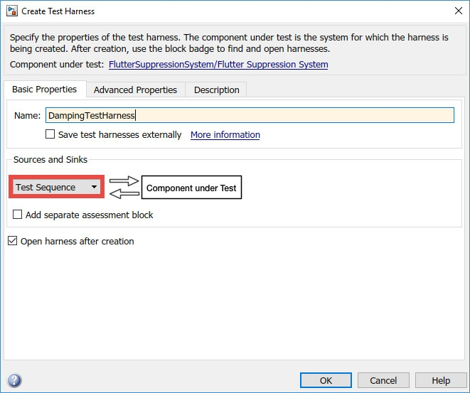 Figure 3. Test harness dialog box in Simulink.