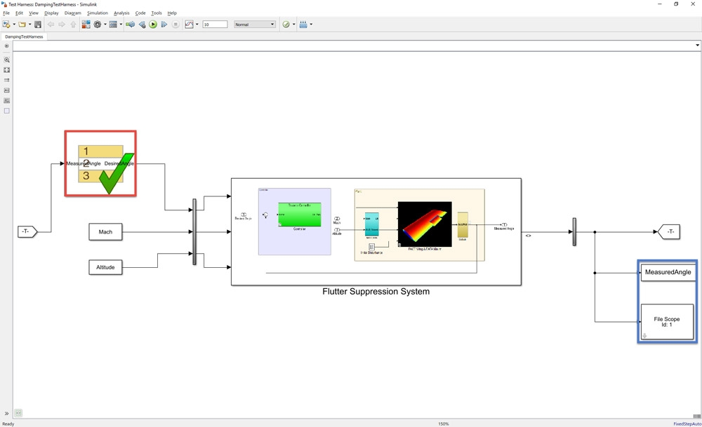 Figure 4. Test harness model with Test Sequence block and data logging.