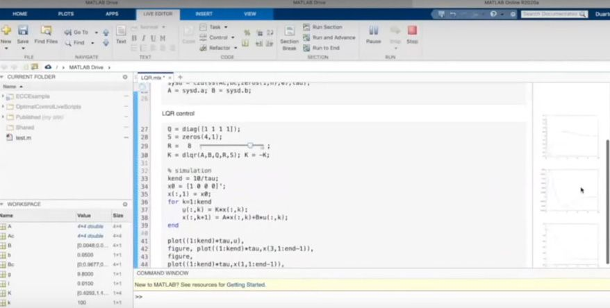 Figure 4. The live script for the LQR control lesson running in a browser with MATLAB Online.