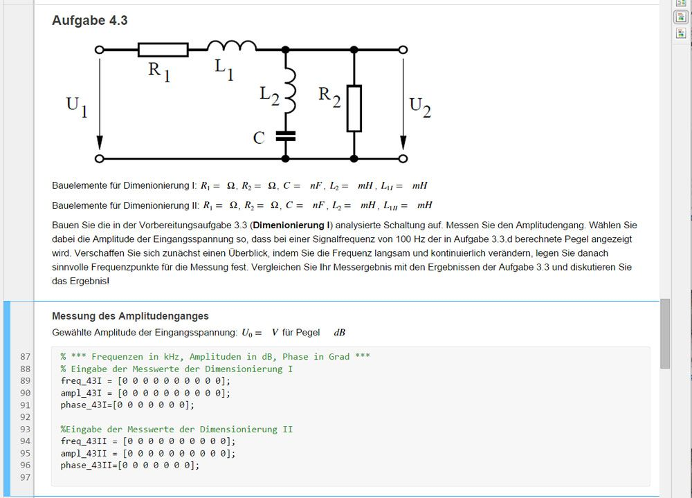 Figure 4. A MATLAB live script used in the fourth Signals and Systems lab assignment.
