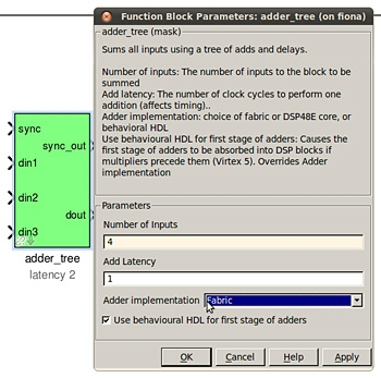 Figure 3. CASPER Library adder tree configuration interface.