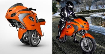 Figure 1. The Uno III dicycle in Uno mode (left) and in motorcycle mode (right). During the transformation to motorcycle mode, the third wheel, stored in Uno mode, is moved forward while the rear traction wheels shift backwards, providing greater stability at high speeds.