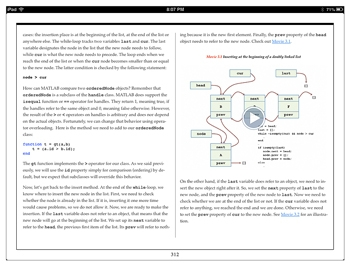 Figure 2. eBook video showing the insertion of a node in a linked list.