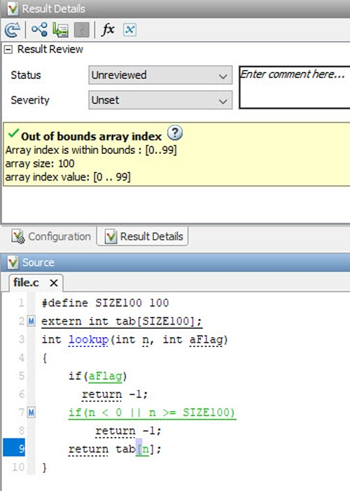 Out-of-bounds array index checking using Polyspace Code Prover.