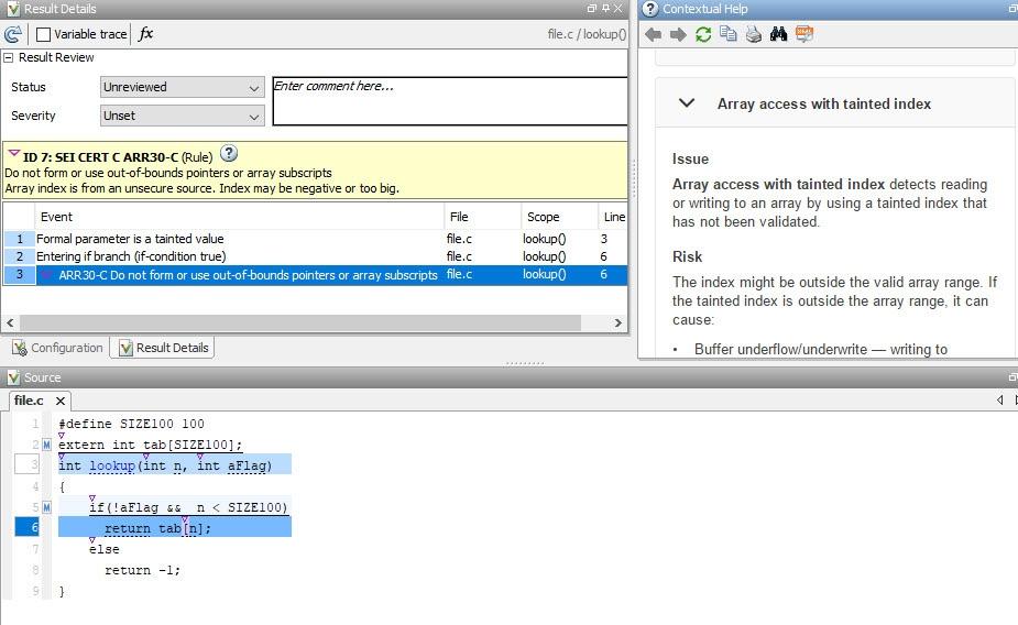 Detecting CERT C violations using Polyspace Bug Finder.