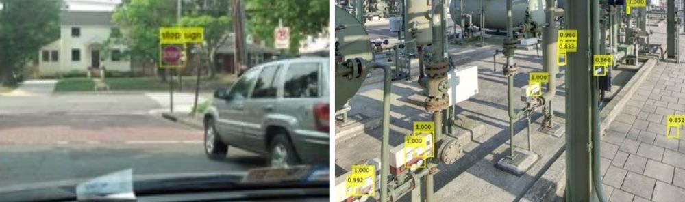 Stop sign detection (left) and automated labelling of parts in a gas processing plant (right).
