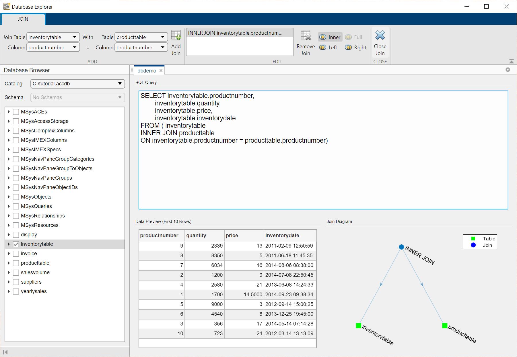 Join tables using database explorer app matlab - Sql join tables from different databases ...