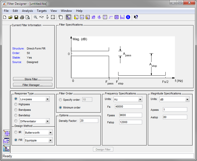 Introduction to filter designer matlab simulink example a tip of the day dialog displays with suggestions for using filter designer then the gui displays with a default filter fandeluxe Images