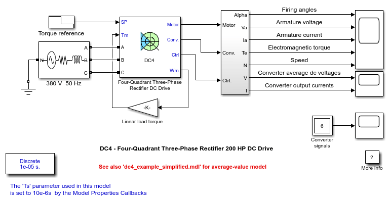 dc4 - four-quadrant three-phase rectifier 200 hp dc drive - matlab  u0026 simulink