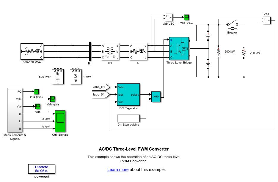 AC/DC Three-Level PWM Converter - MATLAB & Simulink