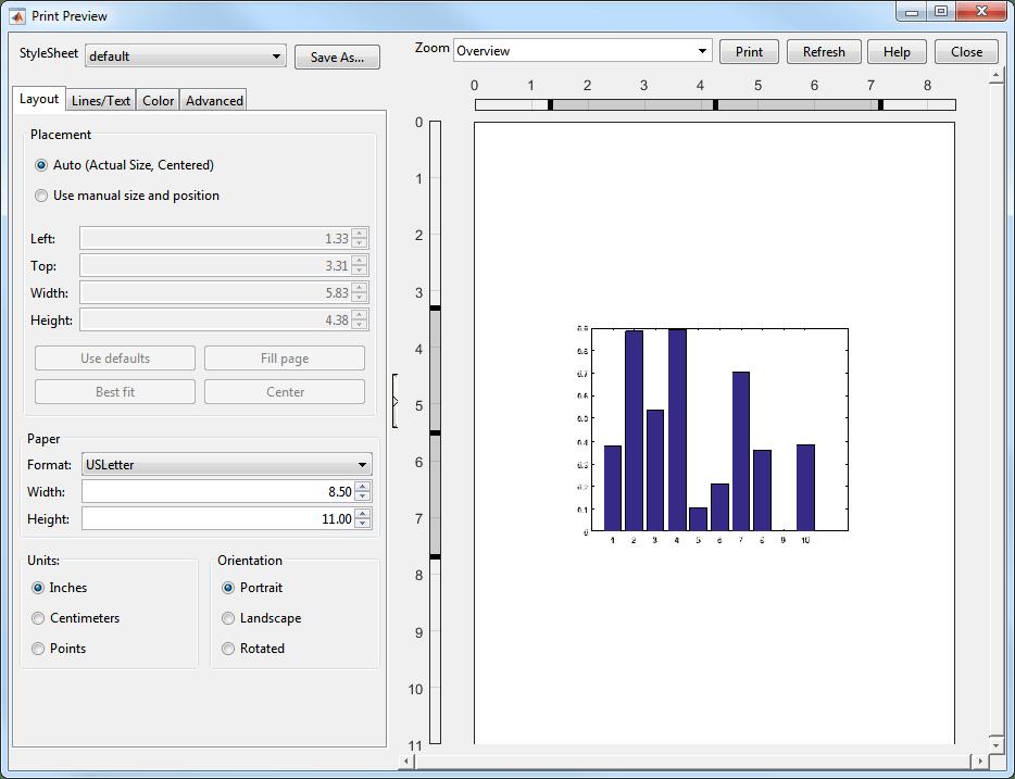 Open figure Print Preview dialog box - MATLAB printpreview ...