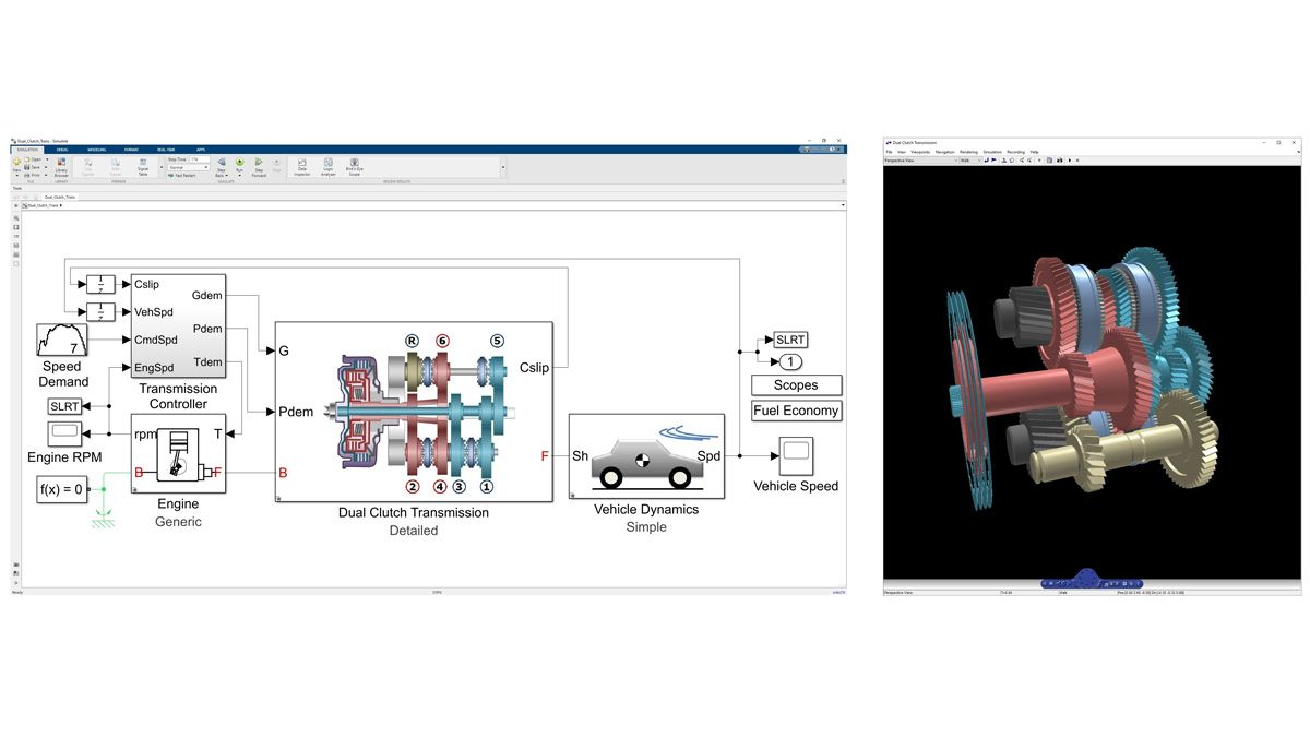 3D animation of the dynamics of a dual-clutch transmission modeled in Simscape Driveline