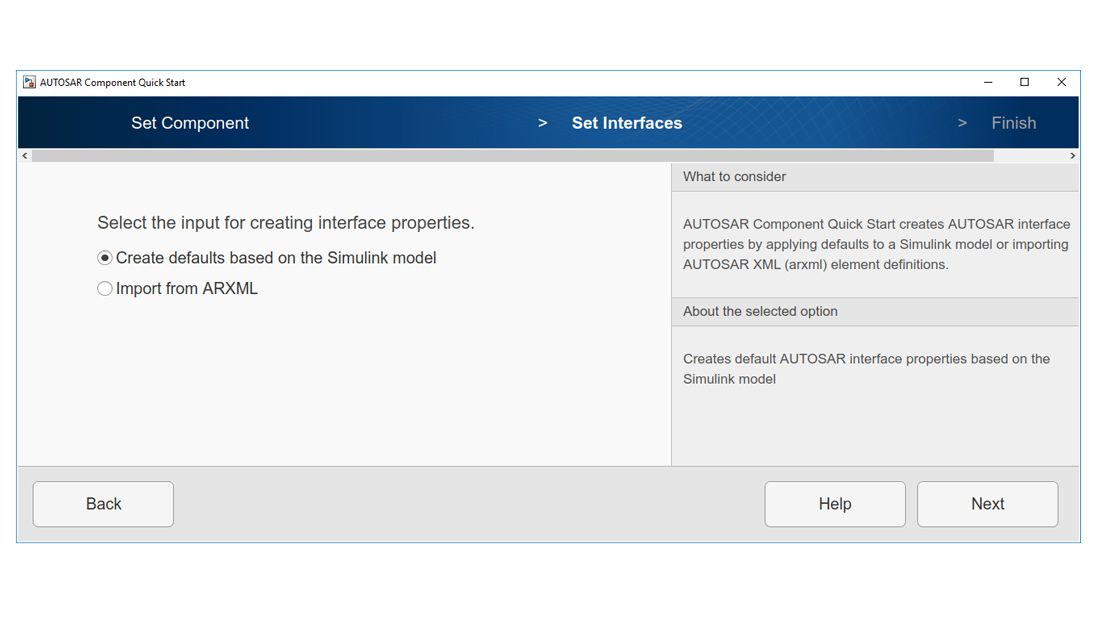 Use AUTOSAR component quick start tool to configure Simulink model to AUTOSAR.