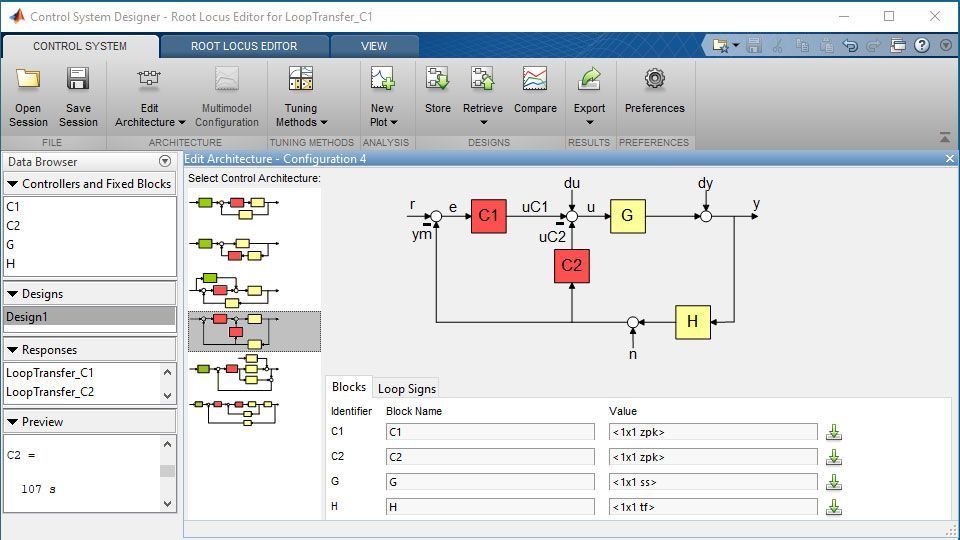 Specifying a multiloop control system architecture in the Control System Designer app