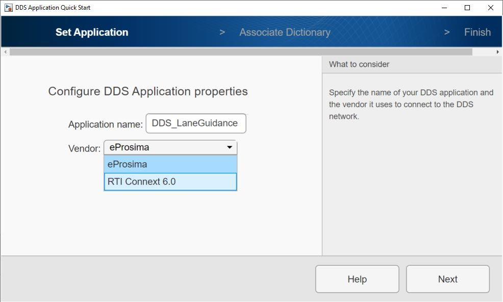 DDS Application Quick Start screen showing the eProsima and RTI Connext options for vendor selection.