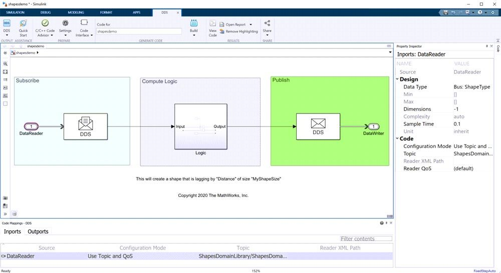 Simulink model with code mappings editor.