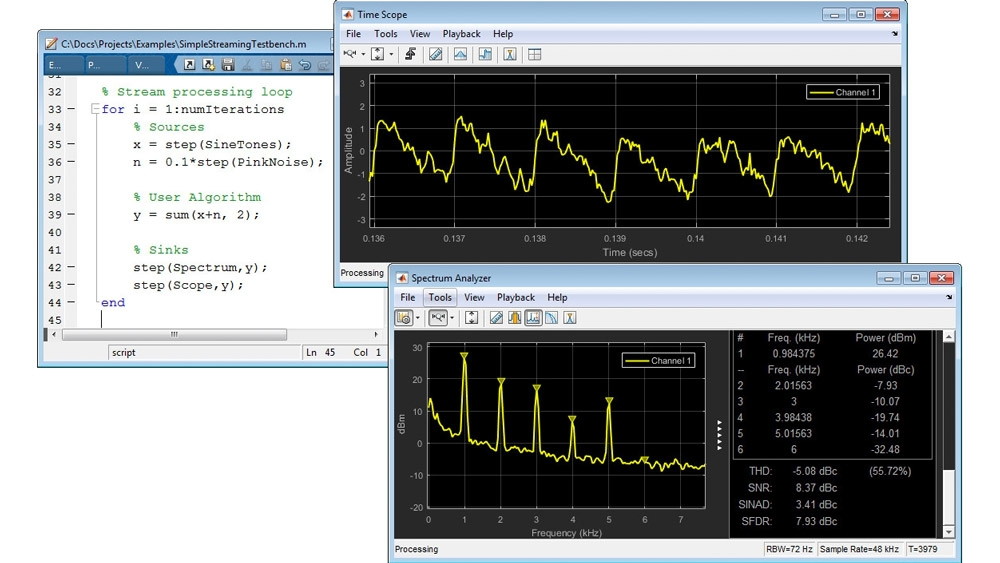 Streaming signal processing in MATLAB
