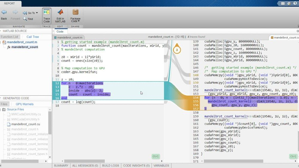 Interactive traceability report using GPU Coder with Embedded Coder.