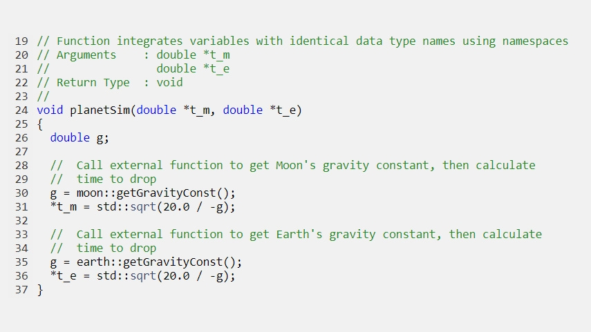 Generated code that integrates variables with identical data type names using namespaces.