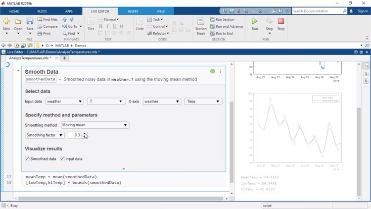 Live Editor Tasks are apps that can be embedded in a live script that allow you to interactively explore parameters and options, immediately see the results, and automatically generate the corresponding MATLAB code for the completed task.