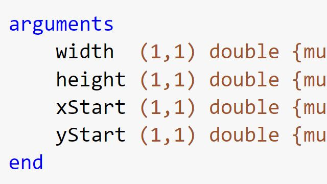Use function argument validation in MATLAB to declare specific restrictions on function input arguments. You can constrain the class, size, and other aspects of function input values without writing code in the body of the function.