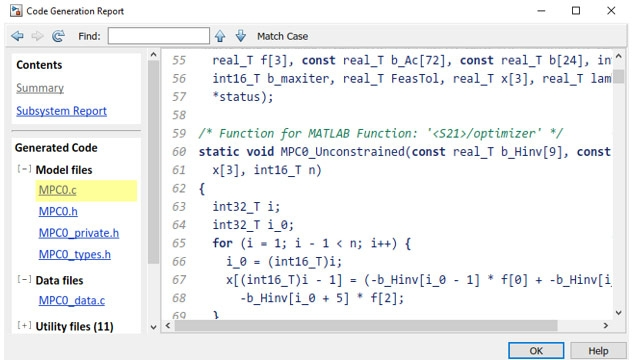 Generating C code from the MPC Controller block.