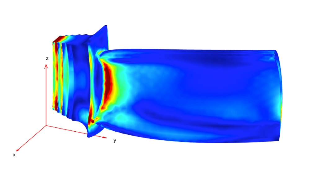 Stress distribution under combined mechanical and thermal loads.