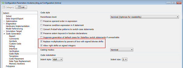 Code generation options to configure the use of shift operations as discussed in the example above.