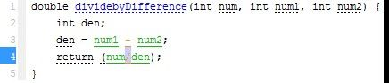 num1 and num2 are inputs to the function dividebydifference