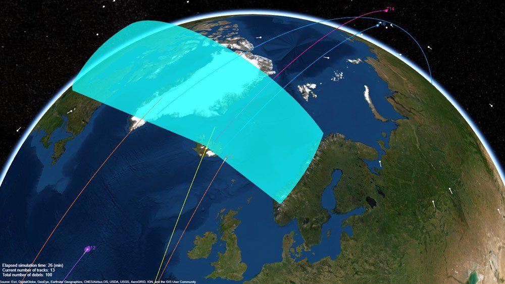 Radar system tracking space debris orbiting the earth.