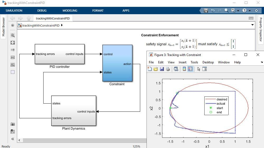 Simulink model and  plots showing model reference adaptive control to track pilot roll commands.