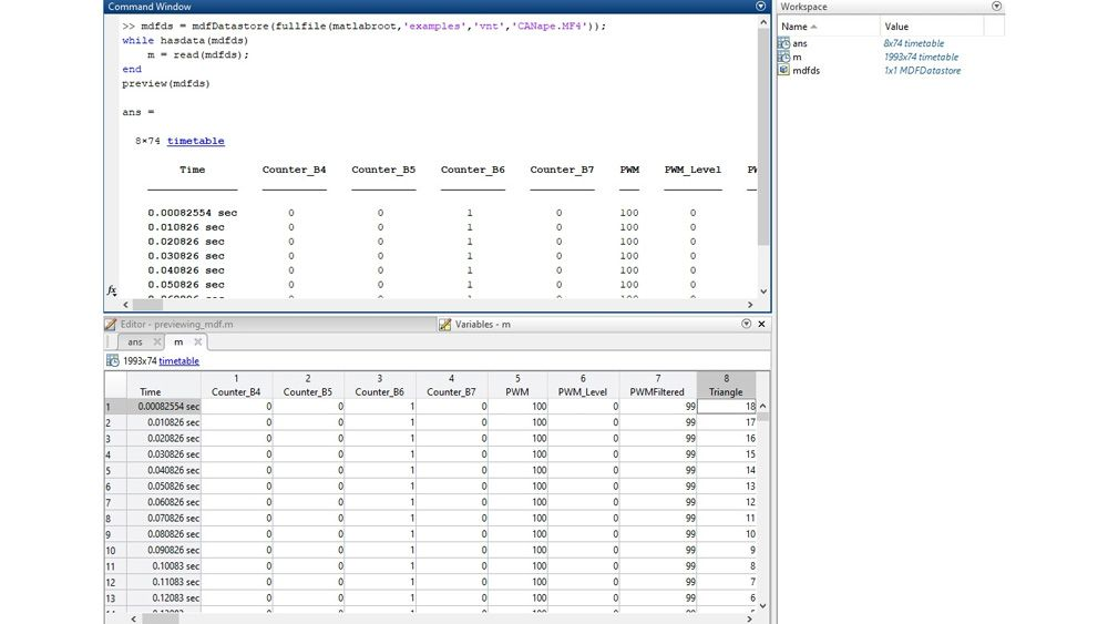 MATLAB interface for inspecting MDF files with the preview function and the Variables editor.