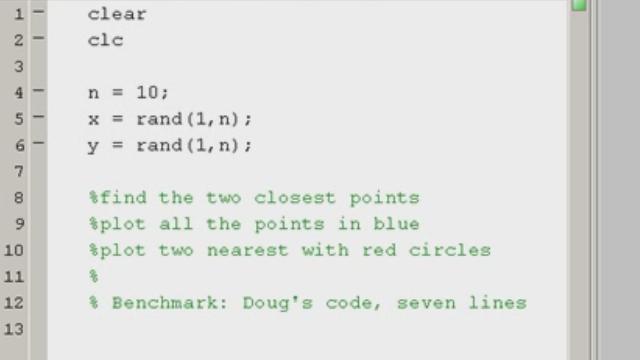 Finding the two closest points MATLAB puzzler description.