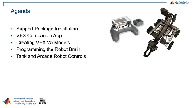 Get started using Simulink to program the VEX EDR V5 Robot brain and learn how to program arcade and tank robot controls.