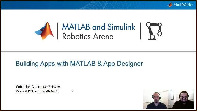 Build apps with MATLAB to automate repetitive interactive code. Sebastian Castro and Connell D'Souza from the Robotics Arena demonstrate building interactive apps using App Designer.